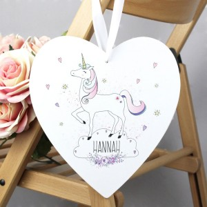 Personalised Unicorn Large Wooden Heart Decoration