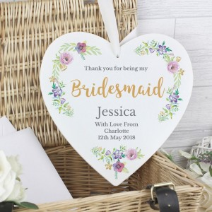 "Personalised Bridesmaid ""Floral Watercolour Wedding"" 22cm Large Wooden Heart Decoration"