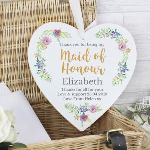 "Personalised Maid of Honour ""Floral Watercolour Wedding"" 22cm Large Wooden Heart Decoration"