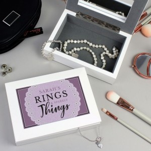 "Personalised Lilac Lace ""Rings & Sparkly Things"" Jewellery Box"