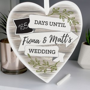 Personalised White Arrow Banner Chalk Countdown Wooden Heart Decoration