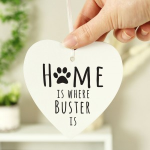 "Personalised ""Home is Where"" Pet Wooden Heart Decoration"