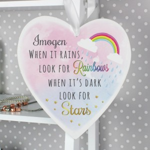 Personalised Rainbows and Stars Large Wooden Heart Decoration
