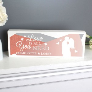 "Personalised ""Love is All You Need"" Wooden Block Sign"