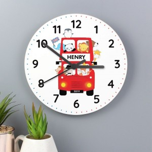 Personalised London Animal Bus Wooden Clock