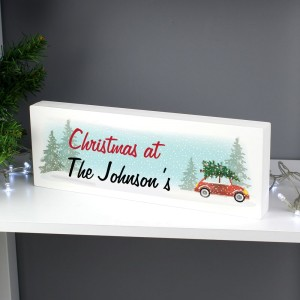 "Personalised ""Driving Home For Christmas"" Wooden Block Sign"