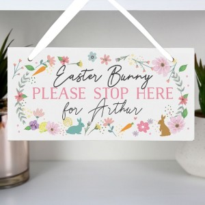 Personalised Easter Springtime Wooden Sign