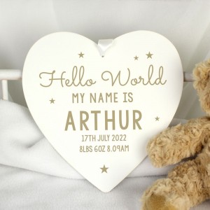 Personalised Hello World Large Wooden Heart Decoration