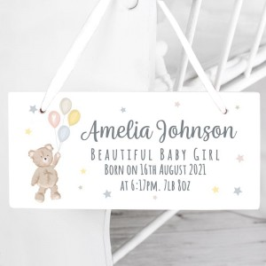 Personalised Teddy & Balloons White Wooden Sign