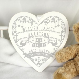 Personalised Grey Papercut Style Large Wooden Heart