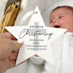 Personalised On Your Christening Wooden Star Decoration