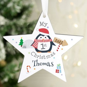 Personalised 1st Christmas Penguin Wooden Star Decoration
