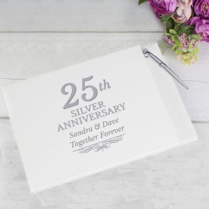 Personalised 25th Silver Anniversary Hardback Guest Book & Pen