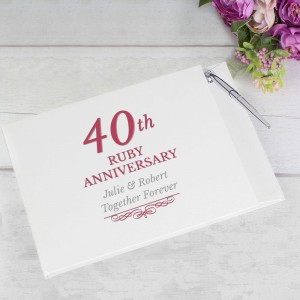 Personalised 40th Ruby Anniversary Hardback Guest Book & Pen
