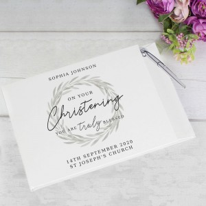 "Personalised ""Truly Blessed"" Christening Hardback Guest Book & Pen"