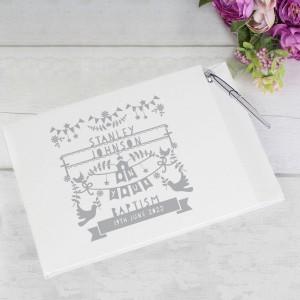 Personalised Grey Papercut Style Hardback Guest Book & Pen
