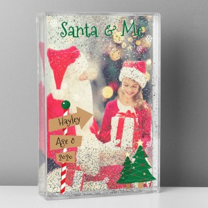 Personalised Santa & Me 4x6 Glitter Shaker Photo Frame