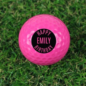 Personalised Happy Birthday Pink Golf Ball