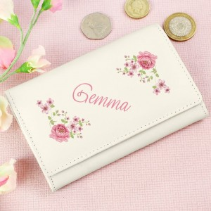 Personalised Floral Cream Leather Purse