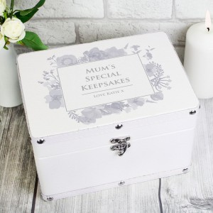 Personalised Soft Watercolour White Leatherette Keepsake Box