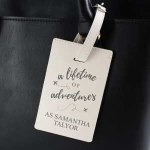"Personalised ""Lifetime of Adventures"" Cream Luggage Tag"