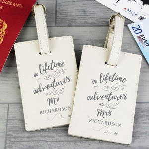 "Personalised ""Lifetime of Adventures"" Couples Luggage Tags"
