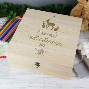 Personalised Christmas Large Wooden Keepsake Box