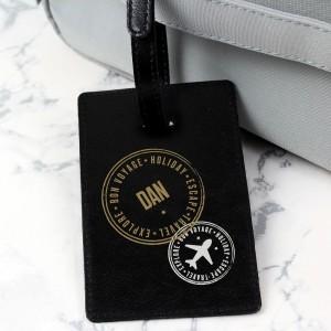 Personalised Stamped Black Luggage Tag
