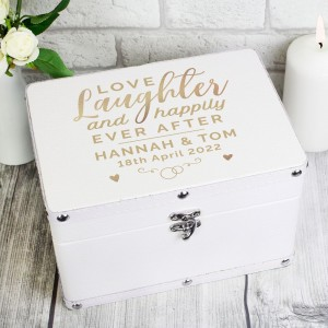 Personalised Love Laughter Leather Box
