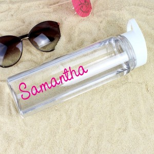 Personalised Pink Text Name Island Water Bottle
