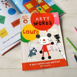 Personalised Arty Mouse Learning Words Activity Book - Softback