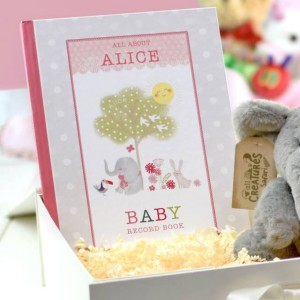 Personalised Baby Record Book with Plush Elephant - Girl
