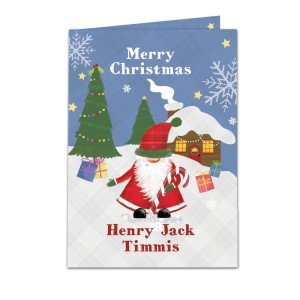 Personalised Tartan Santa Card