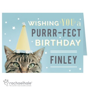 Personalised Rachael Hale Purr-fect Birthday Card