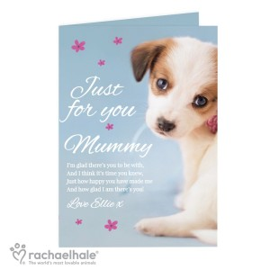 "Personalised Rachael Hale ""Just for You"" Puppy Card"