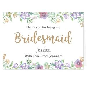"Personalised Bridesmaid ""Floral Watercolour Wedding"" Card"