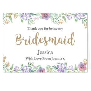 "Personalised Bridesmaid ""Floral Watercolour Wedding"" Card"