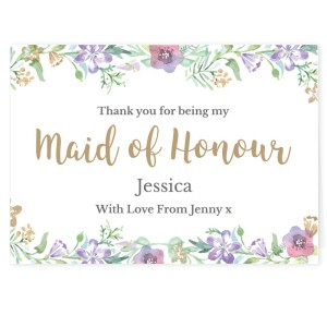 "Personalised Maid of Honour ""Floral Watercolour Wedding"" Card"