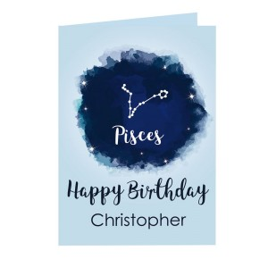Personalised Pisces Zodiac Star Sign Card (February 19th - March 20th)