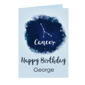 Personalised Cancer Zodiac Star Sign Card (21st June - 22nd July)