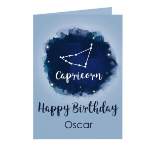 Personalised Capricorn Zodiac Star Sign Card (December 22nd - 19th January)