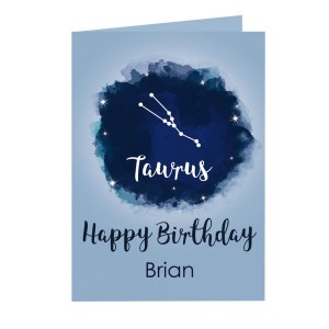 Personalised Taurus Zodiac Star Sign Card (April 20th - May 20th)