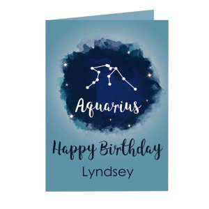 Personalised Aquarius Zodiac Star Sign Card (January 20th - February 18th)