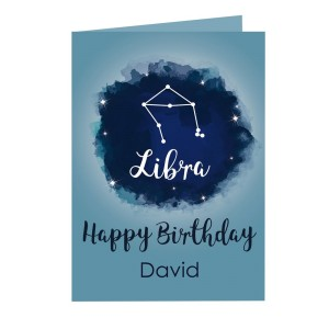 Personalised Libra Zodiac Star Sign Card (September 23rd - October 22nd)