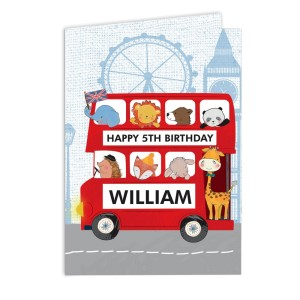 Personalised London Animal Bus Birthday Card