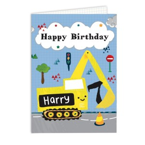 Personalised Digger Birthday Card