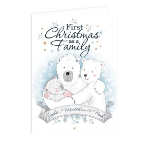 "Personalised Polar Bear ""1st Christmas As A Family"" Card"