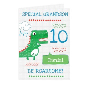 "Personalised ""Be Roarsome"" Dinosaur Card"