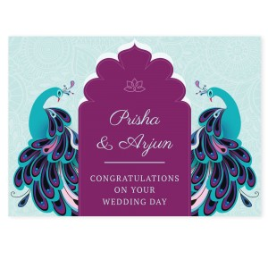 Personalised Peacock Wedding Card
