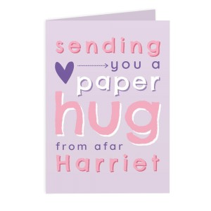 Personalised Pink Hug From Afar Card